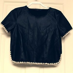 Zara knit top accented with hand-sewn yarn hems